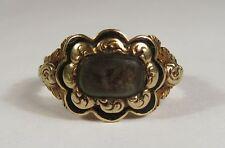 Ornate William IV 18ct Gold & Black Enamel Hair Set Mourning Ring, London 1830