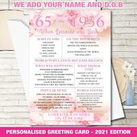 1956 65th Personalised Birthday Greeting Card Back In Edition Ago Milestone 157