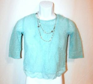 SPEECHLESS Big Girls 3 Piece Top Size M Blue Crochet Lace Crop Top with Cami $34