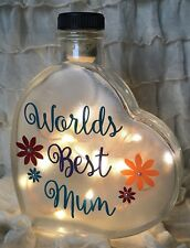 "LED 6"" Glass Light Up Heart Bottle Lamp Worlds Best Mum Nan Aunty Friend Gift"