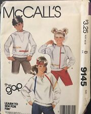 McCall's The Gap Learn to Sew pattern 9145 Boys' & Girls' Tops sz Large uncut