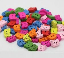 """Lot of 10 TIGER HEAD 2-hole Wood Buttons 3/8"""" x 1/2"""" Scrapbook Craft (6041) 13mm"""