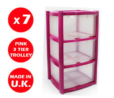 7 x 3 DRAWER PLASTIC STORAGE DRAWER - CHEST UNIT - TOWER - WHEELS - TOYS - PINK