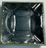 Vintage 70's Anchor Hocking Clear Glass Square Ashtray 4 Slot Heavy Glass New!