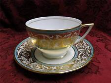 Minton Hanover Leaves & Flowers on Gold with Turquoise Trim: Cup/Saucer Set (s)