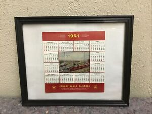 1961 Pennsylvania Railroad PRR Calendar In Frame