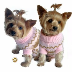 Snowflake Pattern - Winter Weight Sweater - Color Light Pink - Dogs size Small