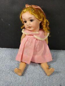 "Antique German 8"" Bisque Head Compo Doll Glass Eyes Teeth 971 A. 9/0 M. D.R.G.M."