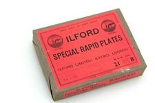 """Vintage SEALED PACK 12x  4.25"""" x 3.25"""" Ilford Special Rapid Camera Plates,backed"""
