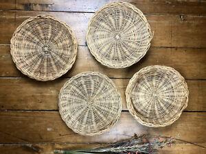 Set Of 4 Wicker Baskets Boho Rattan Basket Wall Decor