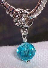 Blue Faceted Crystal Glass December Birthstone Dangle Bead fits Charm Bracelets