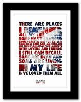 ❤ THE BEATLES - In My Life ❤ song lyrics typography poster art print A1 A2 A3 A4