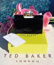 🌸NWT Ted Baker London Marli Turbine Crystal Frame Leather Wallet Black New $129