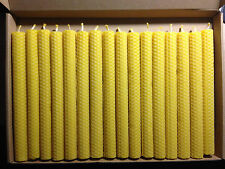 Box 16 PCS 100% BEESWAX  HAND ROLLED CANDLES from beekeeper