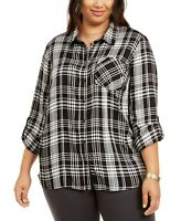 Style & Co. Women's 3x Plus Size Plaid Button-Up Shirt Top, Black, $57, NwT