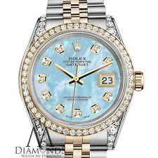 Ladies Rolex Steel 18KGold SS 31mm Datejust Baby Blue MOP Diamond Jubilee Watch