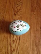 Vintage Ceramic Aqua Blue Green Egg With Floral Pattern