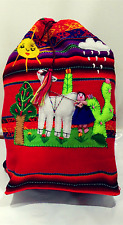 Childs backpack, Arpillera, handmade Peru.
