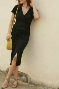 BRAVISSIMO Black Felicity Dress Midi Wrap Dress Work Formal Evening RRP £55 229