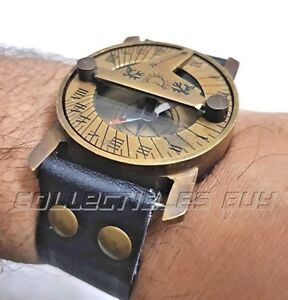Steampunk Vintage Maritime Device Antique Navy Black Wrist Band Sundial Compass