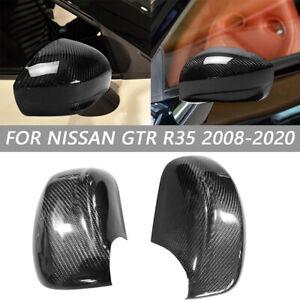 For Nissan R35 GTR GT-R Carbon Fiber Side Rearview Mirror Stick Cover Trim