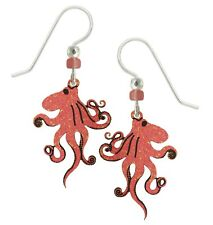 Sienna Sky Octopus Squid Earrings Coral Pink Hand Painted Handmade in USA 925 SS