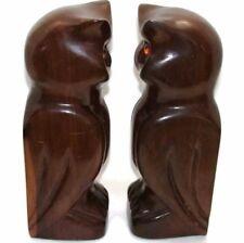"Vintage Pair OWL Wood 11"" H Handcarved Bookends Sculpture Dark Woodwork Birds"