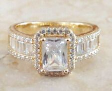925 Sterling Silver 14k Gold Embraced White Topaz Engagement Ring size 7 Emerald