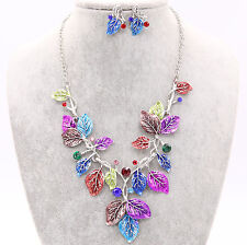 Fashion Colorful Leaf Statement Bib Pendent Necklace Earrings Set Jewelry Gift