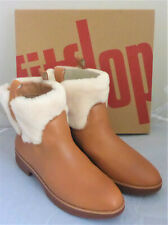 New Fitflop Mimie Ankle Boots Hazelnut Brown Leather Shearling Ladies Box Size 5