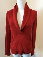 j.crew alpaca shawl collar sweater red merino wool alpaca pockets sz XS Fits 4