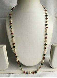 New Golden With Coloured Pearls Chain Indian African Jewellery Necklace