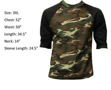 3/4 Sleeve Plain T-Shirt Baseball Raglan Men's Tee Green Camouflage Black 3XL