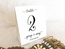 Kraft White Table Numbers 1 to 10 Personalised Tent Style Wedding Birthday Party