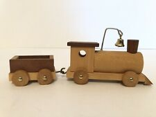 """Wooden Train And Cargo Car Small Total Length With Car 6 1/2"""""""