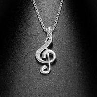 schmuck frauen mode musik note - anhänger halskette silberne kette crystal