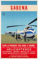 Affiche Originale - SABENA - Hélicoptère - Sikorsky - Aviation - 1955