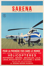 Affiche Originale - SABENA - Hélicoptère - Sikorsky - Aviation - 1955