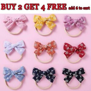 Embroidery  Baby Girls Large Bow Knot Headband Toddler Hair Band Head Wrap Bands