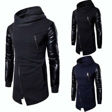 Fashion Mens Patchwork Leather Hoodie Long Sleeve Casual Oblique Zipper Pullover