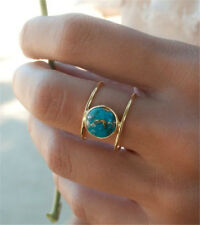 Women 18K Gold Filled Huge Turquoise Ring Wedding Anniversary Gift Size 6-10
