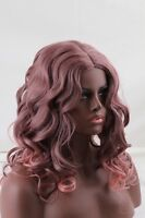 Women Long Curly Cosplay Hair Full Wig Smoke Pink Purple Mix Natural Looking Wig