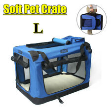 Pet Soft Crate Portable Dog Cat Carrier Travel Cage Kennel Foldable Large - Blue