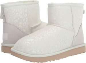 Women's Shoes UGG CLASSIC MINI SNOW LEOPARD Sheepskin Ankle Boots 1113494 WHITE