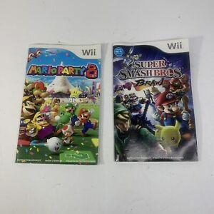 Lot of 2 Nintendo Wii Manuals Mario Party 8 & Super Smash Bros Brawl MANUAL ONLY