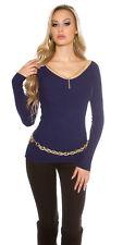 Sexy langarm Pulli Pullover mit Kette sexy Ausschnitt Navy Blau 34 36 38