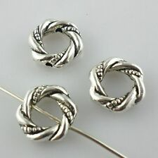 22pcs Twine Rings Antique Silver Charm Spacer Beads Crafts Jewelry Making 3*11mm