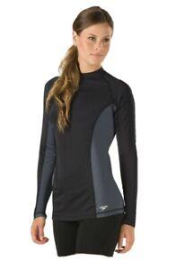 Speedo Long Sleeve Rash Guard Top, Black/Gray, Women's Large