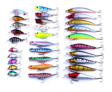 30PCS Fishing Lures Crankbaits Treble Hooks Minnow Bait Tackle Bass Lure US KY
