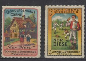 Germany - Pair of Schnabel & Vordtriede Chocolates Advertising Stamps - NG